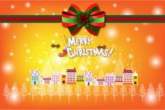 Άσπρο τοπίο Χριστουγέννων με ένα όμορφο χιονώδες χωριό - απεικόνιση eps10 απεικόνιση αποθεμάτων