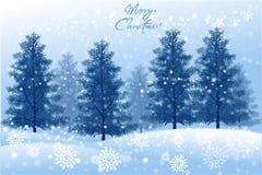 Άσπρο τοπίο Χριστουγέννων με το χειμερινό δέντρο - διανυσματικό eps10 ελεύθερη απεικόνιση δικαιώματος
