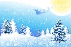 Άσπρο τοπίο Χριστουγέννων με το χειμερινό δέντρο - διανυσματικό eps10 διανυσματική απεικόνιση