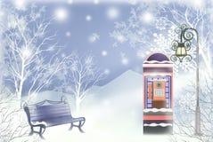 Άσπρο τοπίο Χριστουγέννων στο πάρκο πόλεων - γραφική σύσταση των τεχνικών ζωγραφικής απεικόνιση αποθεμάτων