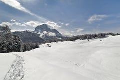 Άσπρο τοπίο Val Gardena, στους δολομίτες Στοκ Φωτογραφίες
