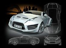 Άσπρο υβριδικό αθλητικό αυτοκίνητο Στοκ εικόνα με δικαίωμα ελεύθερης χρήσης