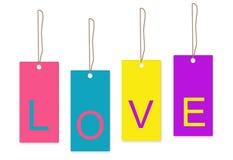 Άσπρο υπόβαθρο ετικεττών αγάπης Διανυσματική απεικόνιση