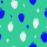 Άσπρο υπόβαθρο μεντών φραουλών διανυσματική απεικόνιση