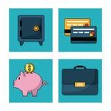 Άσπρο υπόβαθρο με το ασφαλές κιβώτιο και τις πιστωτικές κάρτες και το κιβώτιο χρημάτων και εκτελεστικός χαρτοφύλακας στα τετραγων ελεύθερη απεικόνιση δικαιώματος