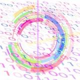 Άσπρο υπόβαθρο με το δυαδικό κώδικα και τις γεωμετρικές μορφές των διαφορετικών χρωμάτων απεικόνιση αποθεμάτων