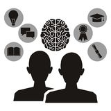 Άσπρο υπόβαθρο με το μονοχρωματικό καθορισμένο επικεφαλής ανθρώπινο εγκέφαλο σχεδιαγράμματος και εικονίδια στα κυκλικά πλαίσια τη απεικόνιση αποθεμάτων