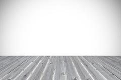 Άσπρο υπόβαθρο με το ξύλινο πρώτο πλάνο σανίδων Στοκ Φωτογραφία