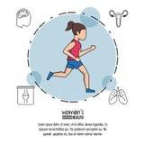 Άσπρο υπόβαθρο της υγείας γυναικών αφισών με το τρέξιμο γυναικών στον μπλε κύκλο με τα εικονίδια γύρω ελεύθερη απεικόνιση δικαιώματος
