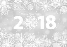 Άσπρο υπόβαθρο χιονιού του 2018 μειωμένο Snowflakes περίληψη Χειμερινή βροντή Στοκ εικόνα με δικαίωμα ελεύθερης χρήσης