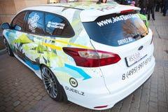 Άσπρο φίλαθλο αυτοκίνητο βαγονιών εμπορευμάτων τιτανίου του Ford Focus Στοκ εικόνα με δικαίωμα ελεύθερης χρήσης