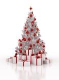 Άσπρο χριστουγεννιάτικο δέντρο με τα κιβώτια δώρων σε ένα άσπρο υπόβαθρο Στοκ φωτογραφία με δικαίωμα ελεύθερης χρήσης