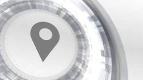 Άσπρο ψηφιακό υπόβαθρο τεχνολογίας στοιχείων ζωτικότητας εικονιδίων θέσης ελεύθερη απεικόνιση δικαιώματος