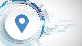 Άσπρο ψηφιακό υπόβαθρο τεχνολογίας στοιχείων ζωτικότητας εικονιδίων θέσης απεικόνιση αποθεμάτων