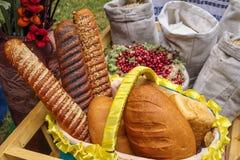 Άσπρο ψωμί, σιτάρι στις τσάντες στην έκθεση Στοκ Φωτογραφία