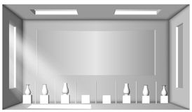 Άσπρο δωμάτιο με δύο παράθυρα και μια συλλογή των βάζων showroom Περιβάλλον κλείσιμο Στοκ Φωτογραφία