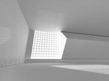 Άσπρο δωμάτιο Bigt και μεγάλη τρισδιάστατη απόδοση παραθύρων Στοκ Εικόνες