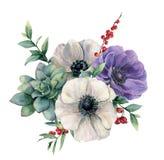 Άσπρο anemone Watercolor και succulent ανθοδέσμη Το χέρι χρωμάτισε το ζωηρόχρωμο λουλούδι, τα φύλλα ευκαλύπτων και τα μούρα που α Στοκ Εικόνα