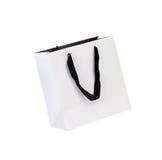 Άσπρο beamless paper-bag με τα σκοινιά Στοκ Φωτογραφίες
