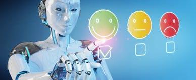 Άσπρο cyborg που χρησιμοποιεί τη λεπτή εκτίμηση ικανοποίησης πελατών γραμμών απεικόνιση αποθεμάτων