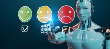 Άσπρο cyborg που χρησιμοποιεί τη λεπτή εκτίμηση ικανοποίησης πελατών γραμμών διανυσματική απεικόνιση