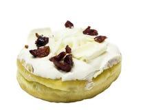 Άσπρο doughnut με τη φράουλα στην κορυφή Στοκ Εικόνες