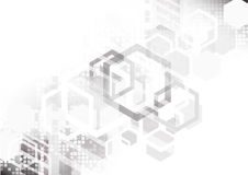 Άσπρο hexagon αφηρημένο υπόβαθρο, τεχνολογία και futuris αγώνα Στοκ εικόνες με δικαίωμα ελεύθερης χρήσης