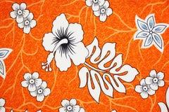 Άσπρο hibiscus ύφασμα σχεδίων Στοκ Εικόνα