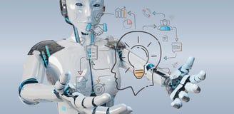 Άσπρο humanoid που δημιουργεί τη διεπαφή τεχνητής νοημοσύνης διανυσματική απεικόνιση