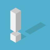 Άσπρο isometric σημάδι θαυμαστικών Στοκ Εικόνες