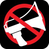 Άσπρο megaphone μέσα στο οδικό σημάδι απαγόρευσης, διάνυσμα ελεύθερη απεικόνιση δικαιώματος