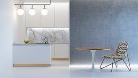 Άσπρο minimalistic εσωτερικό κουζινών Στοκ Φωτογραφίες