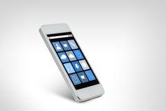 Άσπρο smarthphone με τα εικονίδια εφαρμογής στην οθόνη Στοκ Φωτογραφία