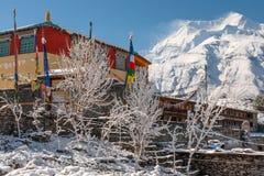 Άσπρο stupa Bhuddist στο χιόνι στα Ιμαλάια Στοκ Εικόνες