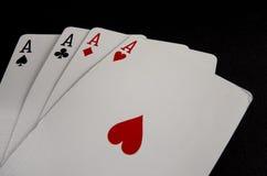 Άσσοι 3 καρτών παιχνιδιού Στοκ Φωτογραφίες