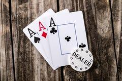 Άσσοι - τρία από ένα καλό πόκερ Στοκ φωτογραφίες με δικαίωμα ελεύθερης χρήσης