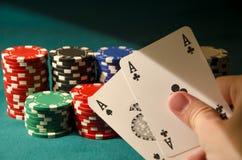 Άσσοι τσεπών πόκερ Στοκ φωτογραφία με δικαίωμα ελεύθερης χρήσης