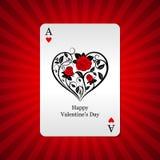 Άσσος καρτών παιχνιδιού των καρδιών στο υπόβαθρο Στοκ Φωτογραφία
