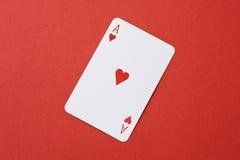 Άσσος καρδιών της κάρτας παιχνιδιού Στοκ φωτογραφίες με δικαίωμα ελεύθερης χρήσης