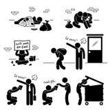 Άστεγοι άνεργοι οικογενειακών επαιτών ατόμων διανυσματική απεικόνιση