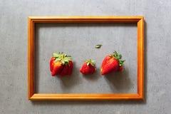 Άσχημα τρόφιμα Οργανικές homegrown φράουλες στο ξύλινο πλαίσιο στο γκρίζο υπόβαθρο τσιμέντου Παράξενα αστεία ατελή φρούτα και λαχ στοκ εικόνες με δικαίωμα ελεύθερης χρήσης