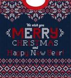 Άσχημη ευχετήρια κάρτα γιορτής Χριστουγέννων πουλόβερ Πλεκτό Σκανδιναβικό σχέδιο υποβάθρου απεικόνιση αποθεμάτων