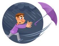 Άσχημος καιρός Βροχή και αέρας τυφώνας Το άτομο κινούμενων σχεδίων προσπαθεί στο catc Στοκ εικόνες με δικαίωμα ελεύθερης χρήσης