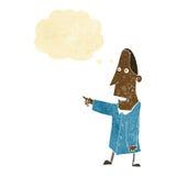 άσχημο άτομο κινούμενων σχεδίων που δείχνει με τη σκεπτόμενη φυσαλίδα Στοκ Εικόνες