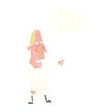 άσχημο άτομο κινούμενων σχεδίων που δείχνει με τη σκεπτόμενη φυσαλίδα Στοκ φωτογραφία με δικαίωμα ελεύθερης χρήσης