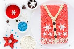 Άσχημο κέικ πουλόβερ Χριστουγέννων, συνταγή για το κόμμα χειμερινών διακοπών, Στοκ εικόνες με δικαίωμα ελεύθερης χρήσης