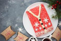 Άσχημο κέικ πουλόβερ Χριστουγέννων, συνταγή για το κόμμα χειμερινών διακοπών, Στοκ Φωτογραφία
