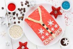 Άσχημο κέικ πουλόβερ Χριστουγέννων, συνταγή για το κόμμα χειμερινών διακοπών, Στοκ φωτογραφίες με δικαίωμα ελεύθερης χρήσης