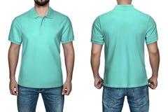 Άτομα κατά την κενή τυρκουάζ μπροστινής και πίσω άποψη πουκάμισων πόλο, άσπρο υπόβαθρο Πουκάμισο, πρότυπο και πρότυπο πόλο σχεδίο Στοκ φωτογραφία με δικαίωμα ελεύθερης χρήσης