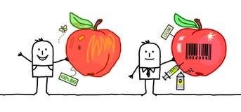 Άτομα κινούμενων σχεδίων με τα οργανικά & βιομηχανικά μήλα Στοκ φωτογραφία με δικαίωμα ελεύθερης χρήσης
